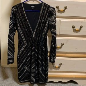 Black/Silver Beaded Short Dress From Express